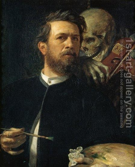 oil painting of man who is painting with skeleton playing violin in the background