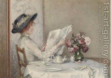 oil painting of whoman in white dress and hat sitting at table with newspaper and flowers
