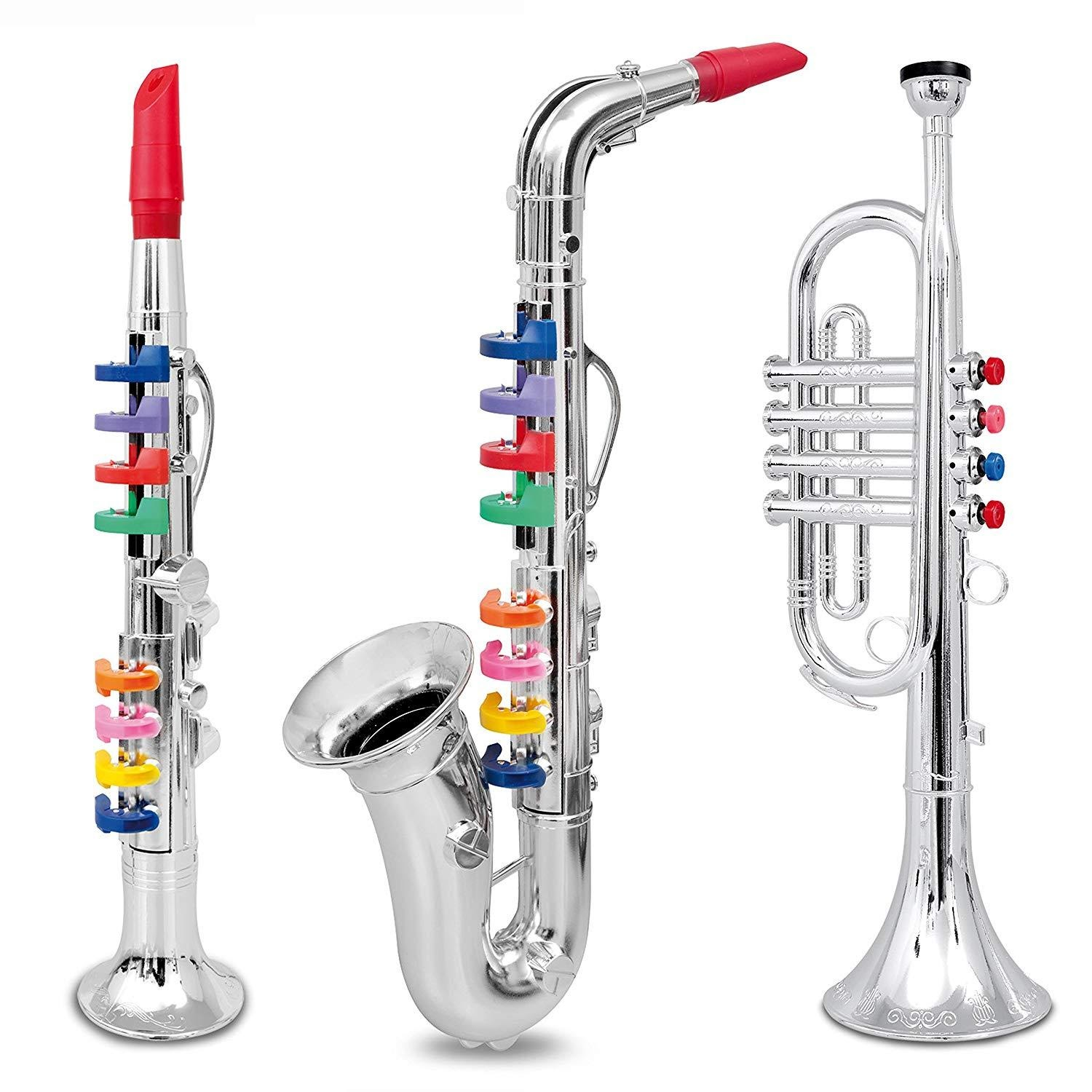 Pack of 3 Brass Instrument Toys on white background
