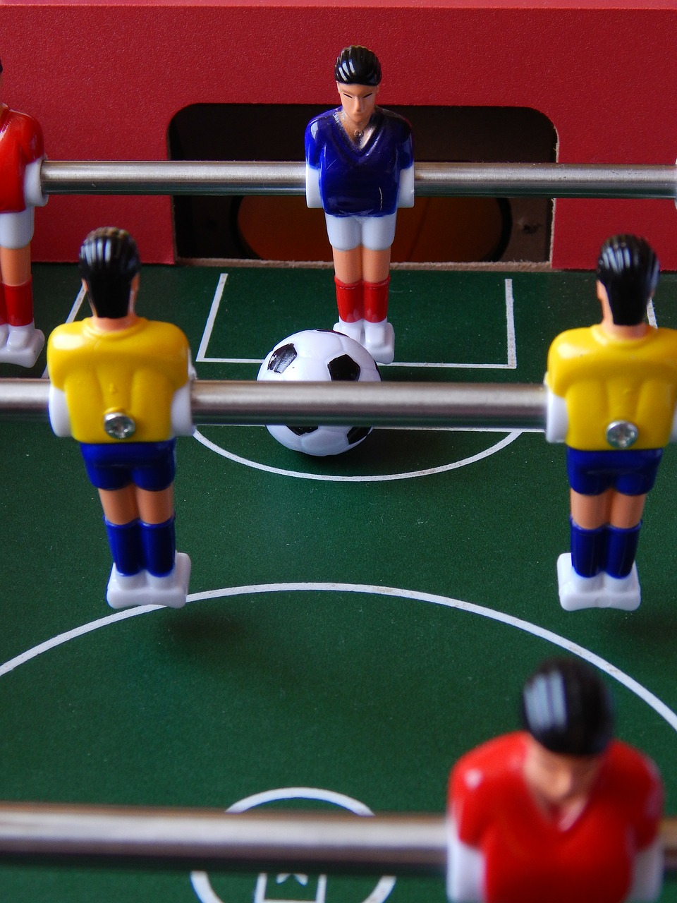 close up of foosball table